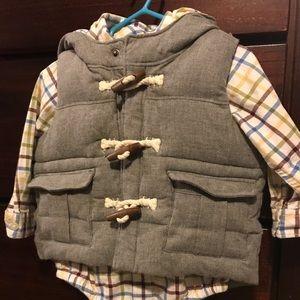 Gap flannel onesie & matching quilted vest